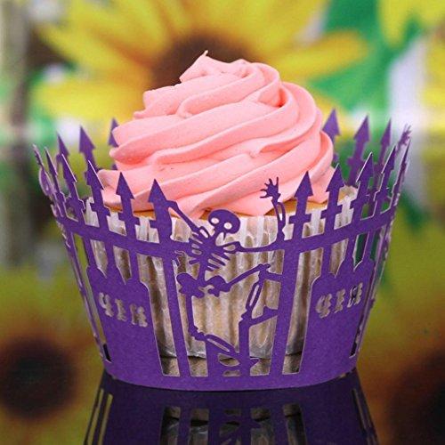 50pcs Cake Cup,Morecome Halloween Pumpkin Cut Cupcake Wrapper Liner Muffin (Cupcake D'halloween)