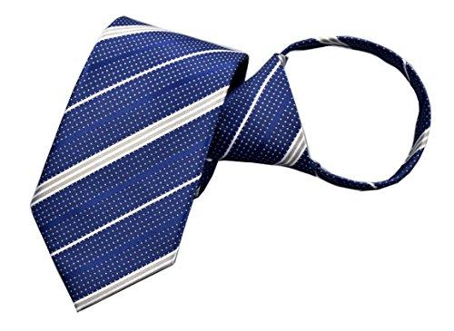 - Mens Navy Blue Zipper Silk Striped Ties Cravat Handmade Summer Business Neckties