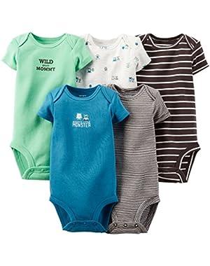 Carter's Blue Monster 5 Pack Bodysuits Newborn
