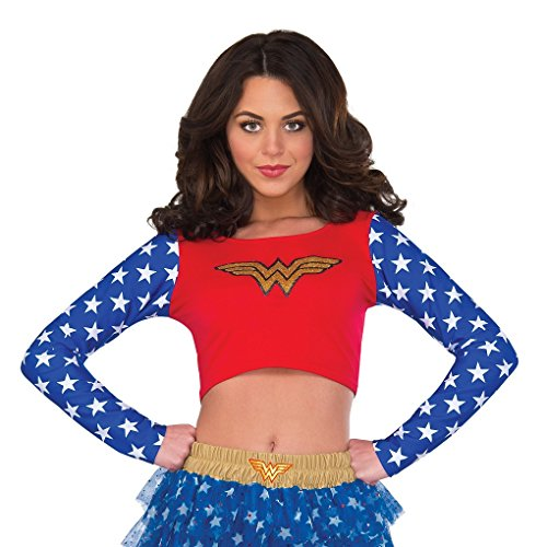 Rubie's DC Superheroes Long Sleeve Crop Top, Wonder -