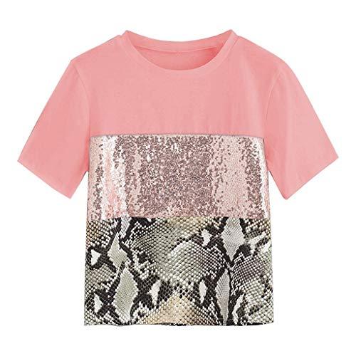 (Womens Sequin Pacthwork Snake Print Short Sleeve Tee Casual Blouse Top)