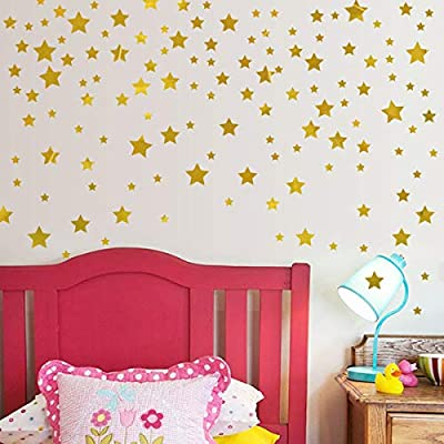YIHOPAINTI Drawing Gold Stars Wall Stickers Living Room Bedroom Decorative Glass Stickers