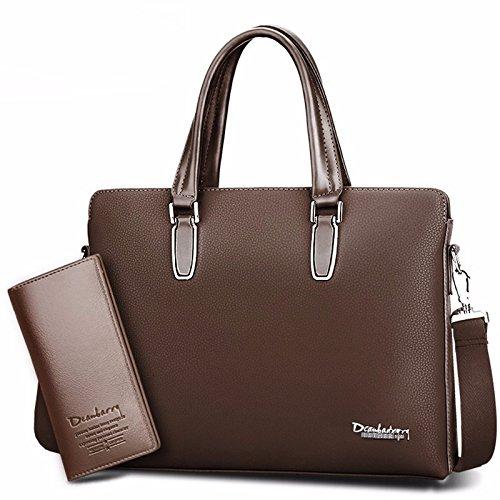 ZHUDJ The New Tide Package Fashion Leisure Men Bag Men Retro Bag Business Briefcase British Style Handbag, Classic Brown (Suit)
