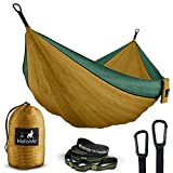 Double Portable Camping Hammock & Straps - Parachute Hammock Tree Straps Set with Max 1000 lbs Breaking Capacity Included - FREE Lightweight Carabiners For Backpacking, Camping, Hiking, Travel, Beach,