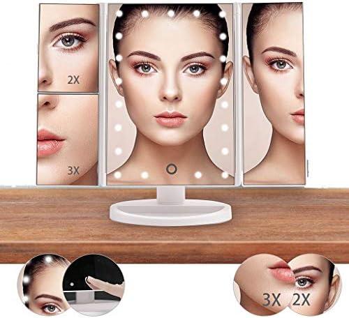 1倍/ 2倍/ 3倍の倍率照明付き化粧鏡、特大ユニークな三つ折りデザインとタッチスクリーンを、虚栄心ミラーライトカウンター化粧鏡 W1XX (Color : White)