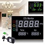 BUPADEALER Digital Wall Mounted 0-9999PPM Carbon Dioxide CO2 Meter Gas Analyzer Detector Temperature& Humidity Tester Air Quality Monitor