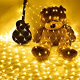 10×6.5Ft 320 LED Net Lights Indoor String Lights Party Christmas Xmas Wedding Home Garden Decorations 8 Modes for Flashing(Warm White)
