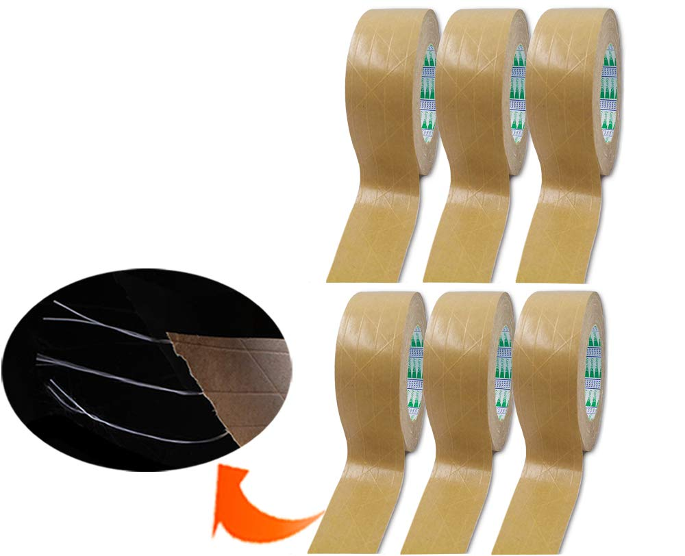 Elepa Reinforced Kraft Paper Tape–2 Inch X 165 Feet-Self Adhesive Packaging Tape, Used for Heavy Duty Packaging, Warehouse Storage, Shipping (Water-Free Activated(6Pack))