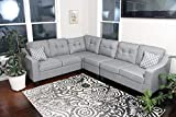 Oliver Smith - Large Light Grey Linen Cloth Modern Contemporary Upholstered Quality Sectional Left or Right Adjustable...