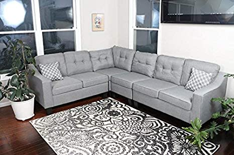 Oliver Smith - Large Light Grey Linen Cloth Modern Contemporary Upholstered  Quality Sectional Left or Right Adjustable Sectional 106\
