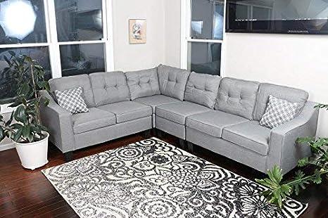 Amazon.com: Oliver Smith, Sofá grandes de lino gris ...