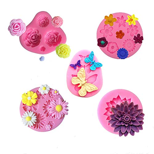Jasonsy Flower Silicone Molds Set,Rose Flower Mold Daisy Flower Mold Small Flower Molds Lotus Flower mold and Butterfly mold for Fondant Cake Decoration