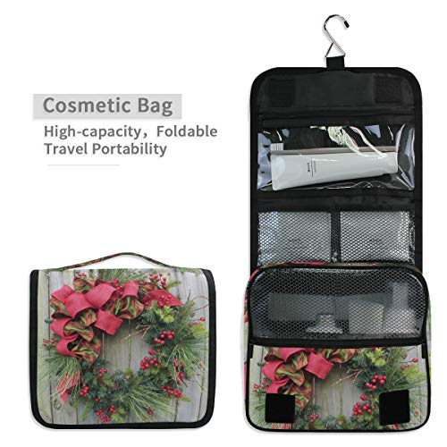 - Toiletry Organizer Wash Bag,Christmas Wreath Decorating Portable travel bathroom shower bags Deluxe Large Capacity Waterproof Pouch Kit with Hook for Men and Woman