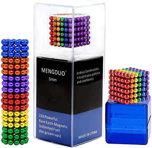 MENGDUO 5MM 224pcs Magnets Sculpture Building Blocks Toys for Sculpture Stress Relief Magnet Intelligence Development - Office Toy for Adults (6 Colors)