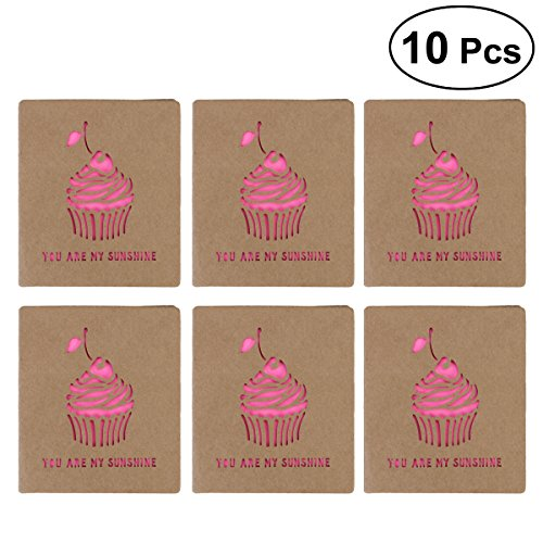 Ice Cream Birthday Invitations (NUOLUX Vintage Hollow Out Greeting Cards Handmade Kraft Paper Cards Invitation Cards For Birthday Christmas Wedding Engagement Supplies,10 Pack size Icecream)