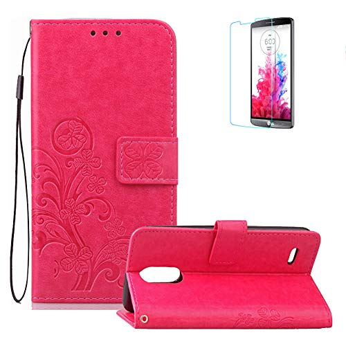 Price comparison product image Funyye Strap Magnetic Closure Flip Case for LG Stylus 3, Luxury Rose Red Lucky Flower Four-Leaf Clover Pattern Wallet Case Stand Credit Card Holder Slots Soft Silicone Case for LG Stylus 3 / LG LS777