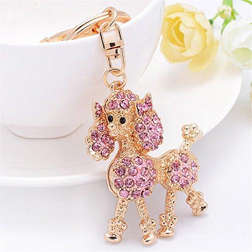 Cute Flower Poodle Keychain Sparkling Keyring Crystal Rhinestones Purse Pendant Handbag Charm (Pink)