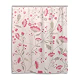 BAIHUISHOP Bathroom Shower Curtain With 12 Hooks Mildew Proof Polyester Fabric 60X72 Inch Flower Pattern