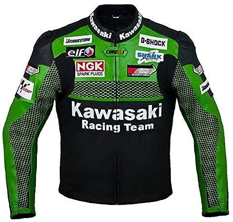 Kawasaki Racing Team Green Leather Motorcycle Jacket (Medium) (The Hundreds G Shock)