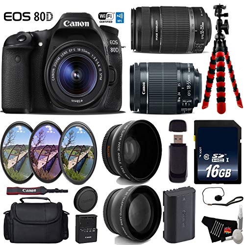 Canon EOS 80D DSLR Camera with 18-55mm is STM Lens & 55-250mm is II Lens + UV FLD CPL Filter Kit + Wide Angle & Telephoto Lens + Camera Case + Tripod + Card Reader - International Version -  6Ave