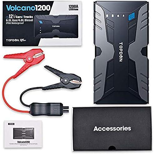 wasserdichtes Notbatterie Booster Power Pack Anlasser mit LED Taschenlampe Dual USB Port TOPDON Auto Starthilfe Powerbank Volcano 1200A Peak 12V Auto Starthilfeger/ät bis zu 6.5L, Gas 4.0L Diesel