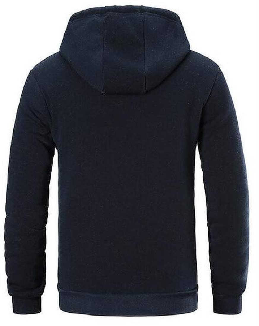 pipigo Men Faux Fur Lined Winter Full-Zip Hooded Hoodies Sweatshirt Coat Jacket