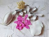 Set of 7 cutters, two silicone molds for petals Orchid and 30 pcs Orchid Pollens for flower making Fondant supplies Polymer clay