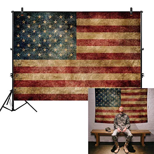 Allenjoy 7x5ft Independence Day Backdrop for Photography American Flag Retro Blue Patriotic 4th of July Celebration Stars and Stripes Banner Photo Studio Booth Newborn Baby Shower Background Photocall ()