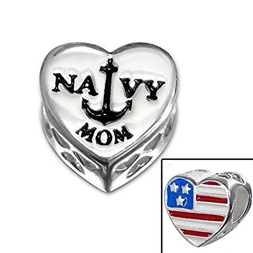 925 Sterling Silver ''Amercian Flag/navy MOM Heart'' Charm Bead Compatible with PANDORA Bracelets by ICYROSE