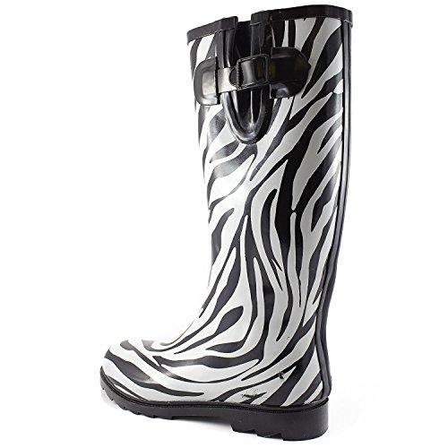 Womens Pozzanghere Pioggia E Neve Boot Multi Colore Metà Polpaccio Ginocchio Impermeabile Antipioggia Zebra