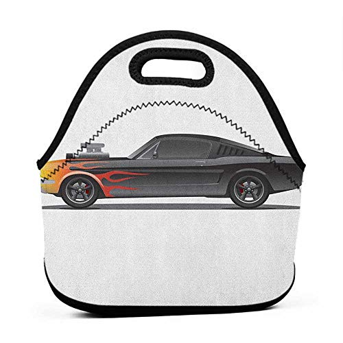 Rugged Lunchbox Cars,Custom Design Muscle Car with Supercharger and Flames Roadster Retro Styled, Charcoal Grey Orange,cool gear lunch bag for women