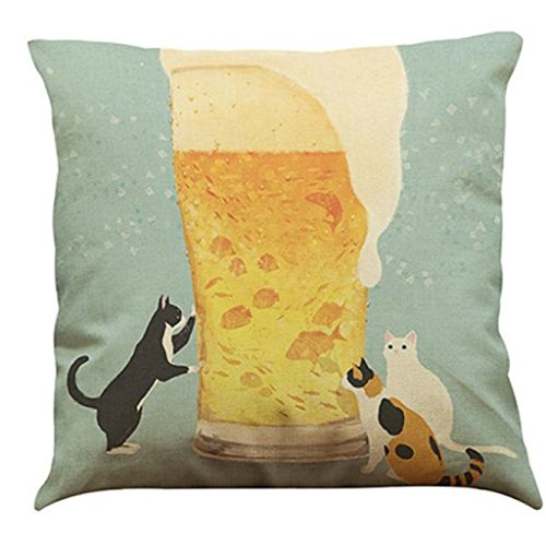 Festival Cushion Covers,FUNIC Cute Cat Throw Pillow Case Sofa Bed Home Cafe Decor (Multicolor (Cute Halloween Home Decor)