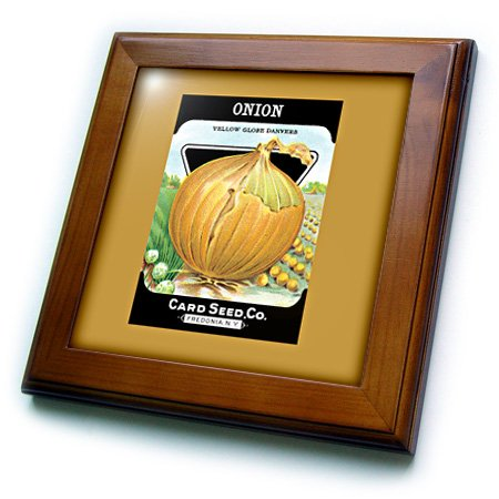 3dRose ft_170463_1 Onion Yellow Globe Danvers Vegetable Seed Packet Reproduction-Framed Tile Artwork, 8 by 8-Inch ()