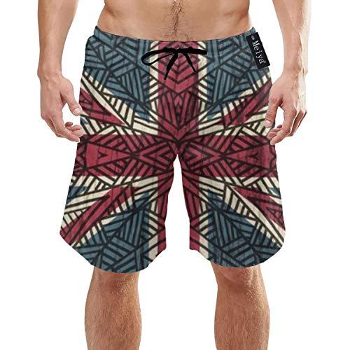 (Tribal Union Jack Men's Beach Pants Shorts Swimming Trunks Swimwear Quick-Drying White)