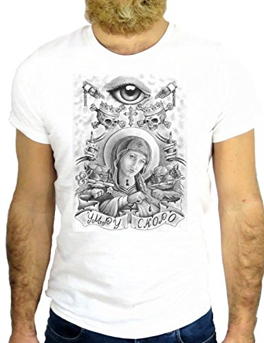 T SHIRT Z0688 TATTOO NICE MADONNA SAINT NICE COOL TATUATTO JERRY NICE COOL GGG24 BIANCA - WHITE M