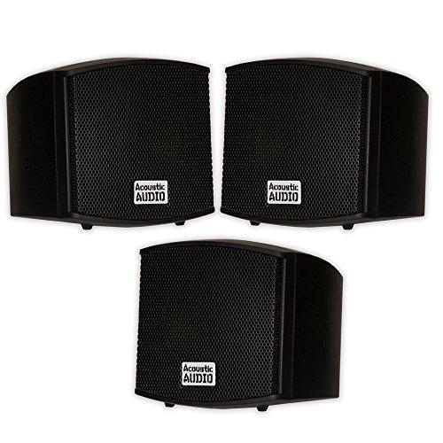Acoustic Audio AA321B Mountable Indoor Black Speakers 600 Watts 3 Piece Set AA321B-3S by Acoustic Audio by Goldwood