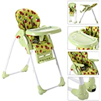 Baby High Chair Infant Toddler Feeding Booster Seat Folding Safety Portable ( Green Strawberry ) // Foldable design for storage and carry to save room