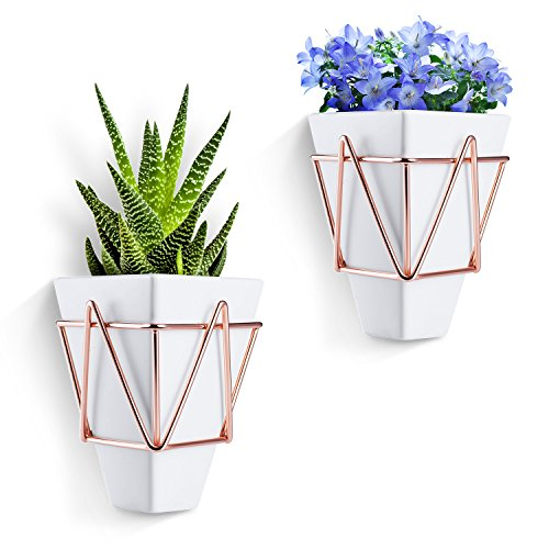 Love-KANKEI Wall and Desk Planters Vase White Ceramic and Copper - Succulent Air Plants Mini Cactus Artificial Flowers Hanging Geometric Wall Decor Planter Pots