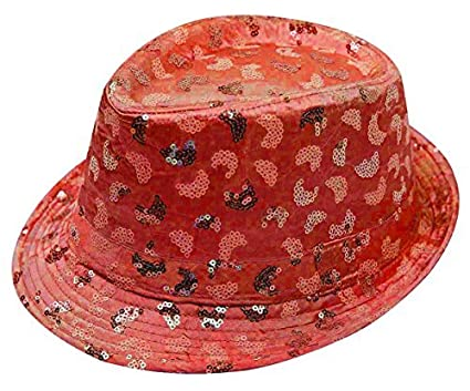Unisex Glittery Sequin Hats Fedora Trilby Gangster Hiphop Jaz Fancy Dress  Caps (Red Stylish Sequin Hat One Size  Unisex)  Amazon.co.uk  Clothing 0475f7a6c8e2