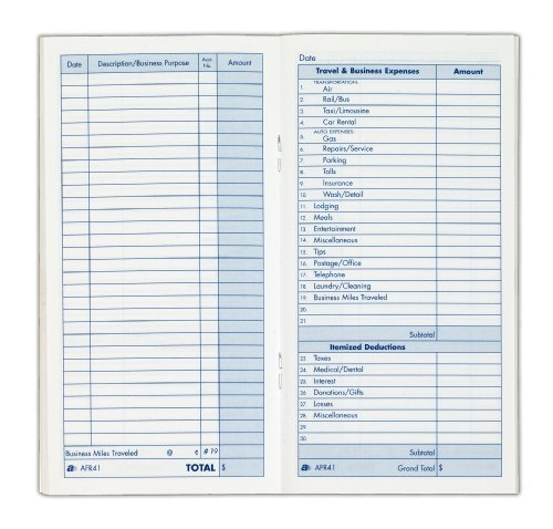 Adams Expense Record Book, 3.25 x 6.25 Inches, 48 Pages, White (AFR41) ()