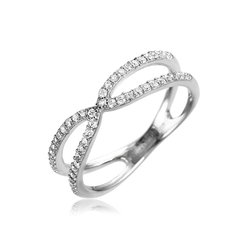 Clear Cubic Zirconia X Open Split Shank Ring Rhodium Plated Sterling Silver