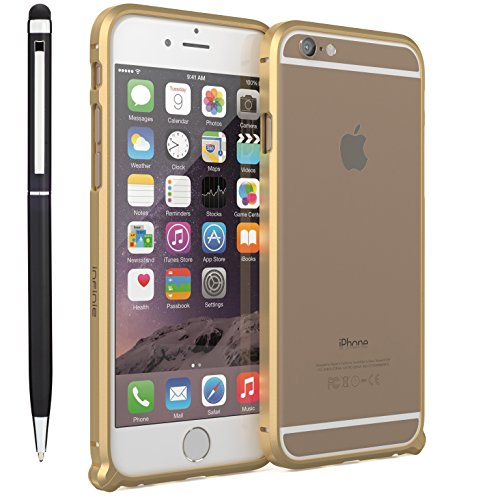 Apple iPhone 6s Case, Premium Ultra Slim Shock Absorbing Aluminum Case for iPhone 6s and iPhone 6 [Slim Fit][Shock Absorbent][+ Stylus] - Gold Axiom Case