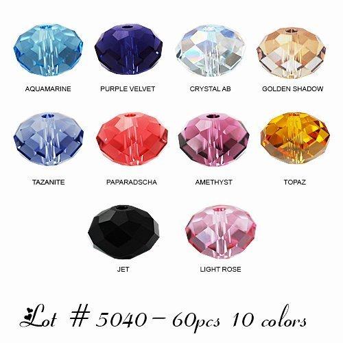 - Wholesale Lot 60 pcs Swarovski Rondelles Crystal Beads 6mm #5040. 10 colors (#1).