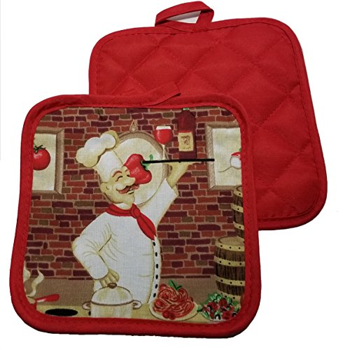 Home Collection Classic Italian Chef (Serves Wine) 5 Piece Bundle of Kitchen Linens Includes 1 Oven Mitt 2 Pot Holders 2 Kitchen Towels