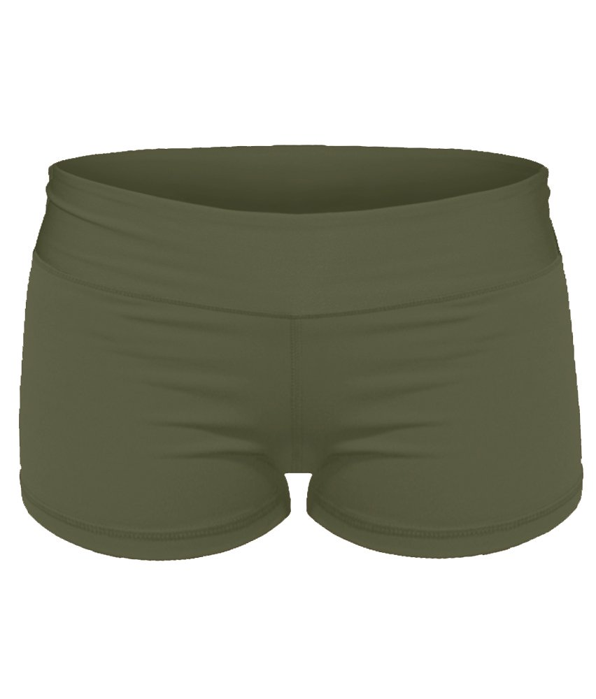 Yoga Shorts - Booty Shorts (Army Green, Small/6)