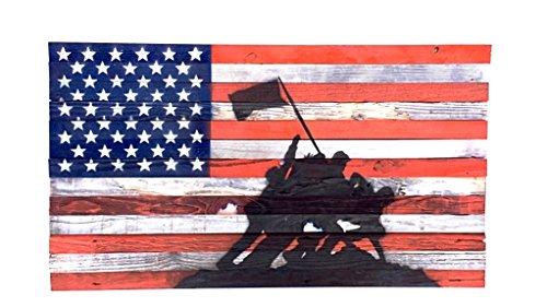 (Wood American Flag w/The Raising The Flag on Iwo Jima Stencil Wall Decor Hanging Art Poster Display US Flag Handmade Recycled Redwood 27'''x48'')