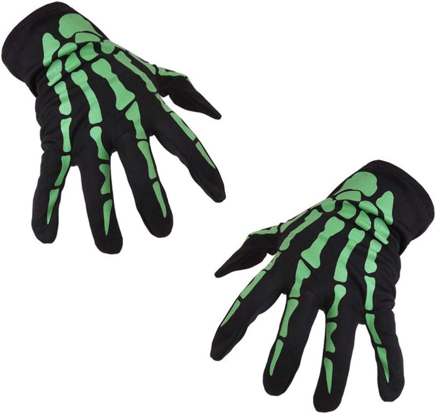 Amosfun 1/par/de/Guantes/de/Esqueleto/de/Guante/de/Halloween/Guantes/Unisex/Suaves/Transpirables/Guantes/de/Dedo/Completo/Traje/de/Cosplay/Accesorio/&nb