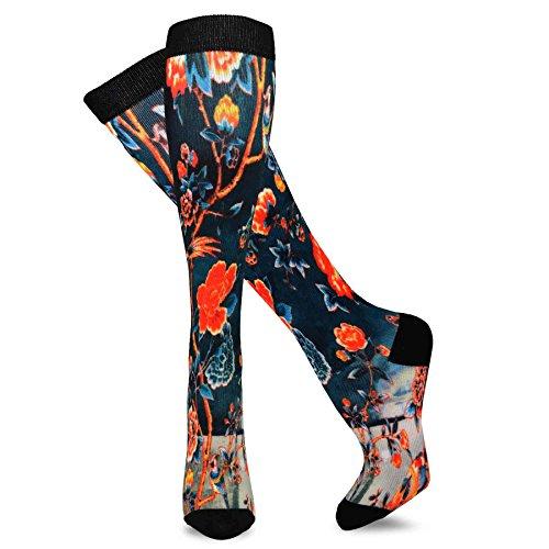 743519674 TeeHee Microfiber Compression Knee High Socks with Rib 3-Pack (Medium (9-