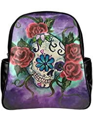 InterestPrint Mexican Sugar Skull PU Leather Multi-pocket Travel Backpack School Bag