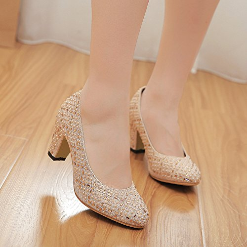 Womens Ladies Mid Heel Shoes Court Shoes Pumps For Bridal Bridesmaid Party Evening Prom Wedding Gold gnv9dJ